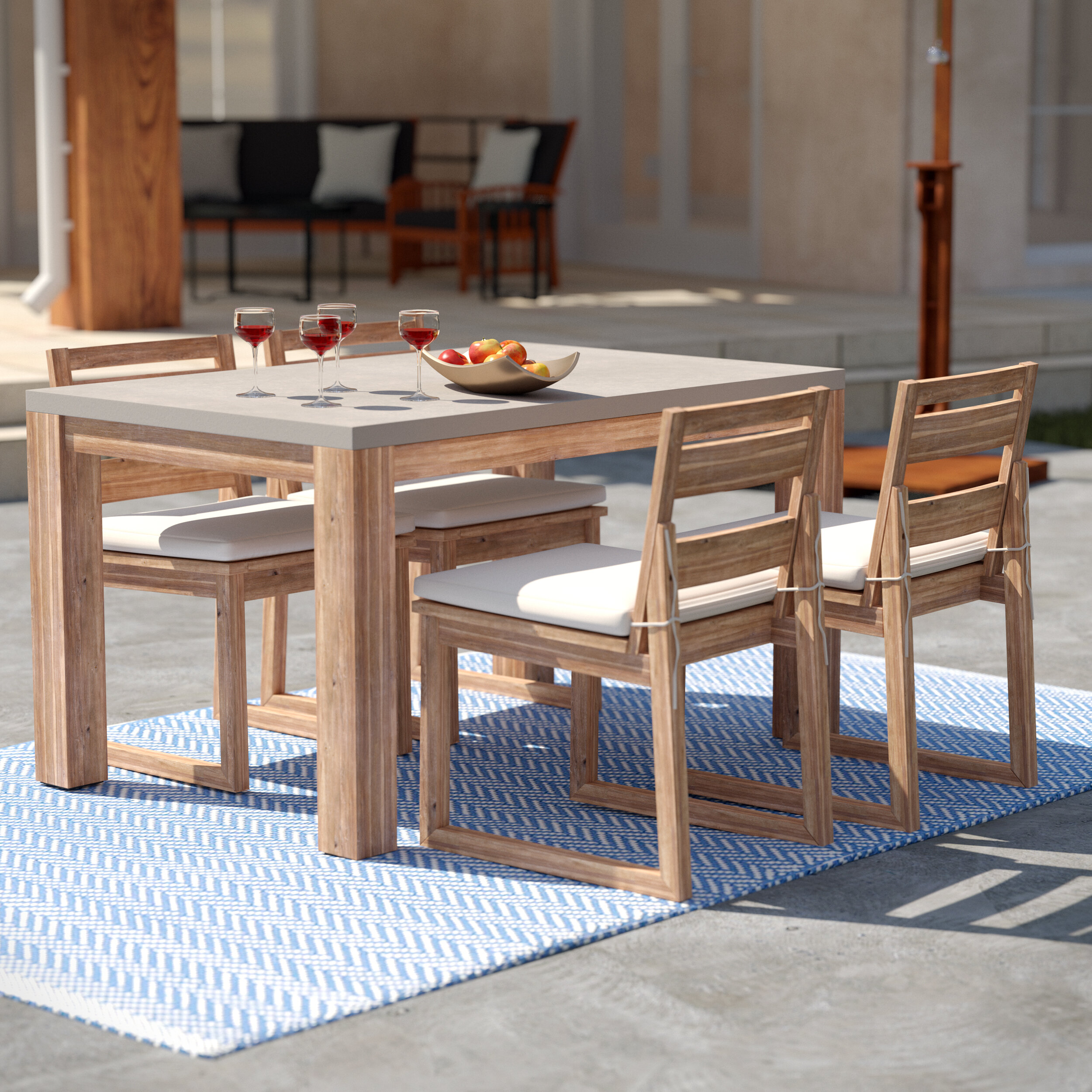 Rectangular 4 Person 54 25 Long Dining Set With Cushions Reviews