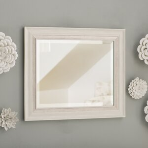 White Brushed Steel Beveled Wall Mirror
