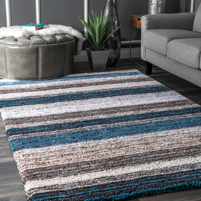 Weeden Striped Handmade Tufted Brown Teal Area Rug