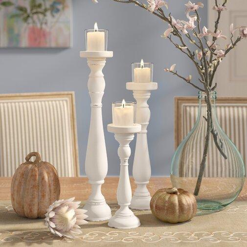 Shabby 3 Piece Candlestick Set