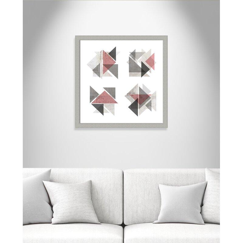 Bohho Wall Decorations - 'Boho Geometrics Blush Gray' Framed Graphic Art Print