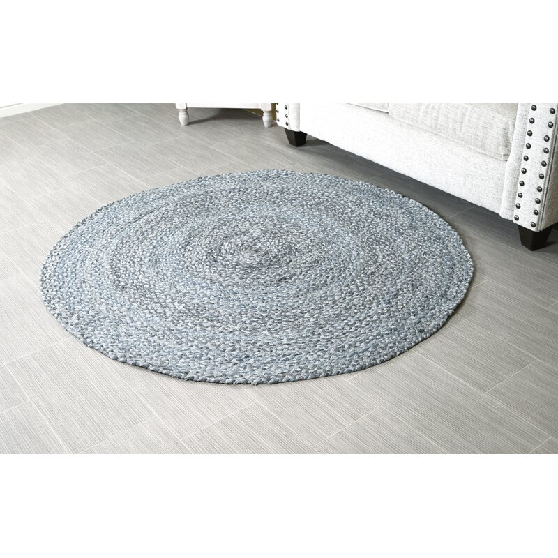 August Grove Round Handmade Braided Cotton Gray Area Rug Wayfair