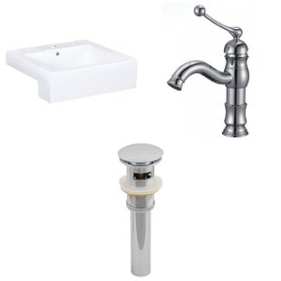 Compare prices 20.25-in. W Semi-Recessed White Vessel Set For 1 Hole Center Faucet - Faucet Included ByAmerican Imaginations
