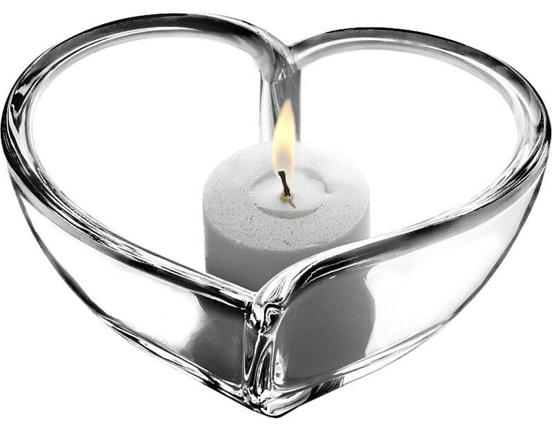 Hearts Bowl Small Crystal Votive Holder