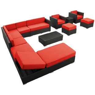 Fusion 12 Piece Rattan Sectional Set with Cushions
