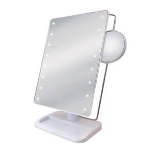 stand up vanity mirror. LED Stand up Makeup Mirror with Tray and Sensor Freestanding  Shaving Mirrors You ll Love Wayfair