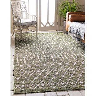 Adley Green/Beige Indoor/Outdoor Area Rug
