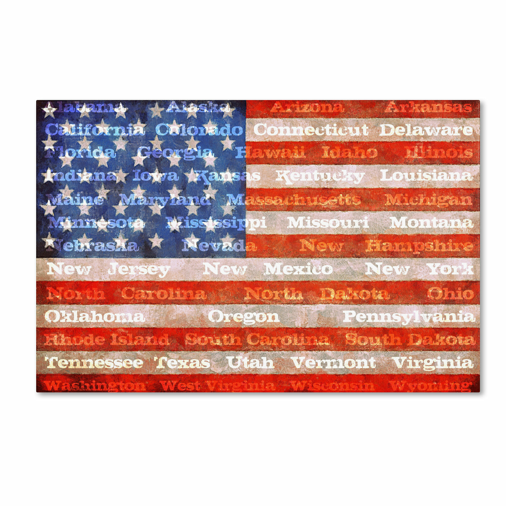 Trademark Art American States With Flags Graphic Art On Wrapped Canvas Reviews Wayfair