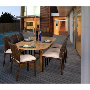 Beachcrest Home Arango 9 Piece Teak & Wicker Dining Set