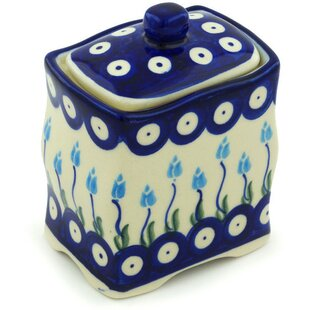 Polish Pottery Floral Peacock with Lid Kitchen Canister