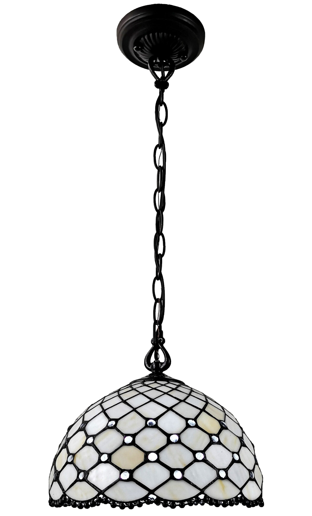 August Grove 3dfb2c6cca674bb8b5294d79f9b56bfa Tiffany Style Hanging Pendant Ceiling Lamp 12 Wide Stained Glass White Jeweled Antique Vintage Light