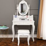 Overbeck Vanity Set with Stool and Mirror by House of Hampton®