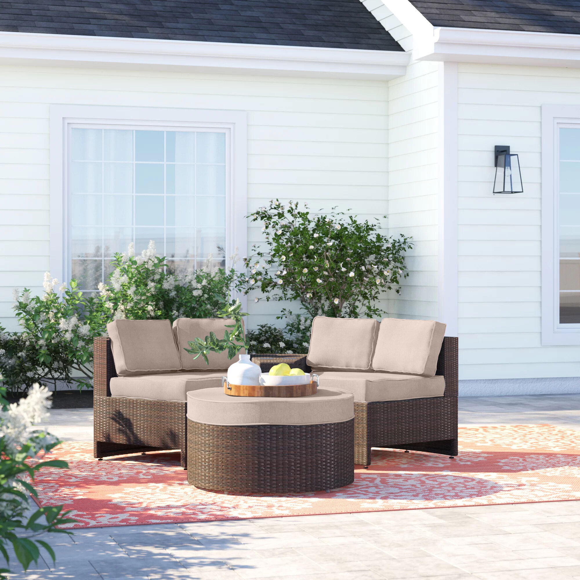 Sol 72 Outdoor Bermuda 4 Piece Rattan Sectional Seating Group With Cushions Reviews Wayfair