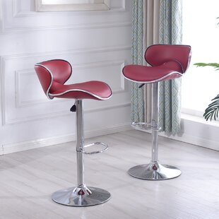 Orren Ellis Morley Adjustable Height Swivel Bar Stool (Set of 2)