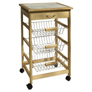 Stratford Kitchen Cart with Wood Top by Rebrilliant Cheap