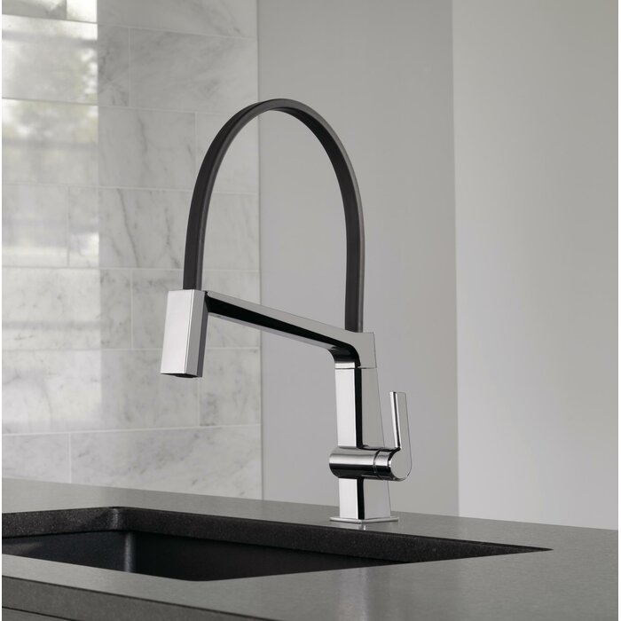 Single Handle Exposed Hose Kitchen Faucet