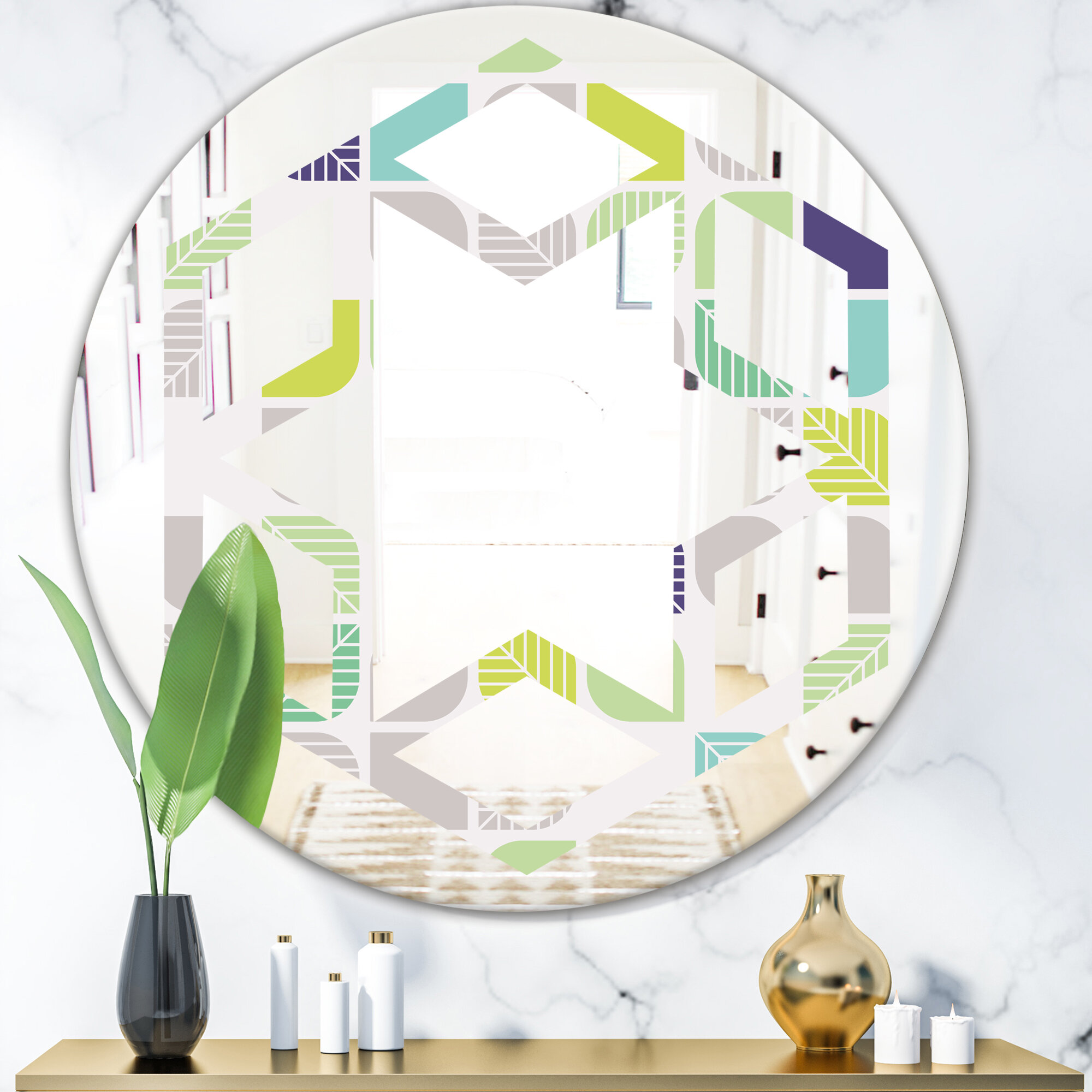 East Urban Home Hexagon Star Geometric Pattern Leaves Modern And Contemporary Frameless Vanity Wall Mirror Wayfair