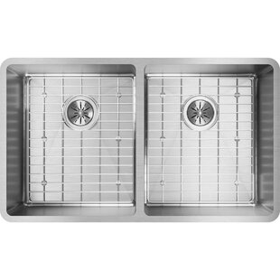 Crosstown 32 L x 19 W Double Basin Undermount Kitchen Sink with Grid and Drain Assembly by Elkay