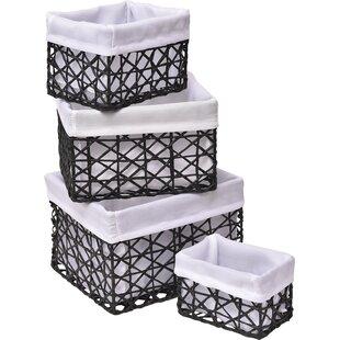 Storage Utilities Paper Rope 4 Piece Basket Set ByEvideco