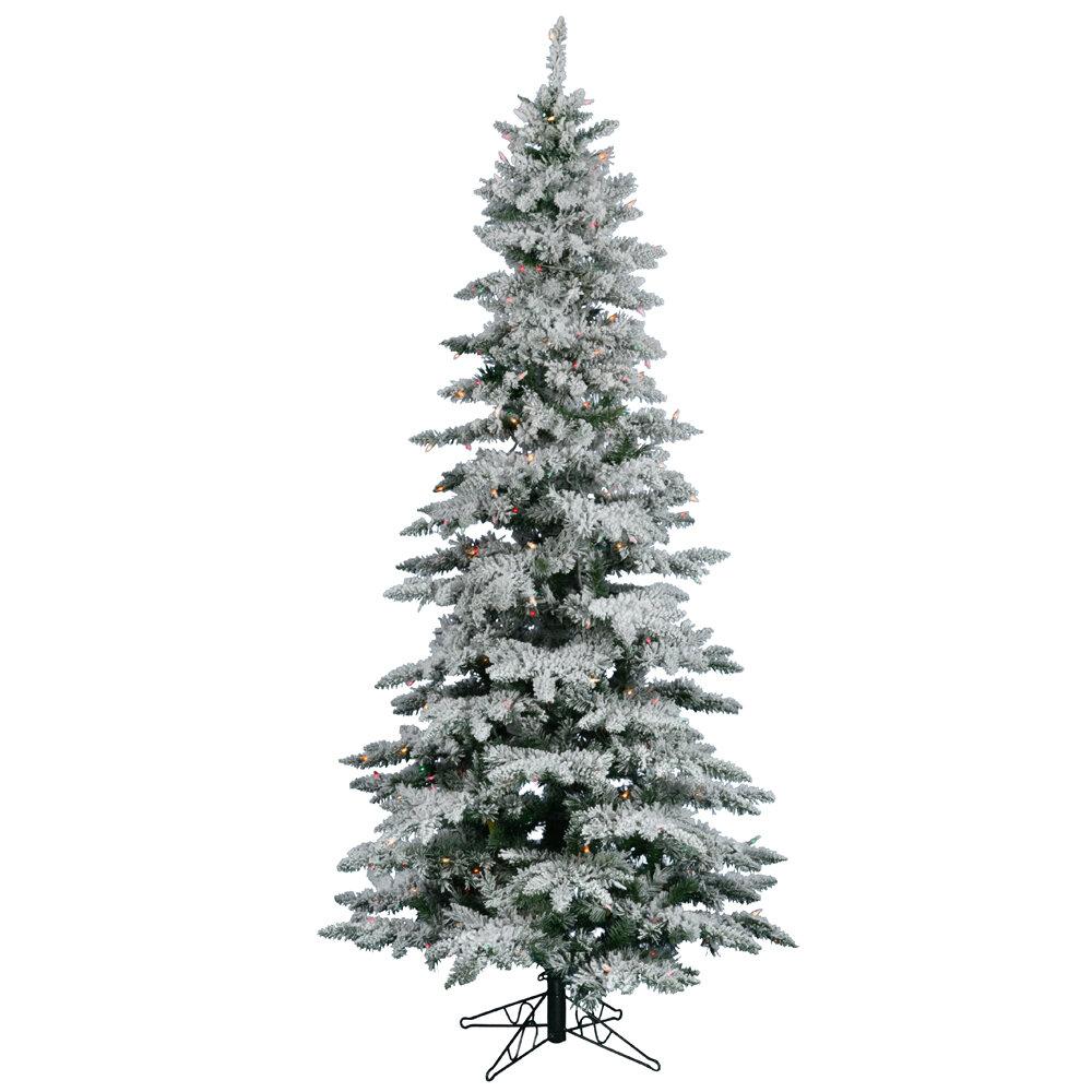 Vickerman 7.5\' Flocked Layered Utica Fir Artificial Christmas Tree ...