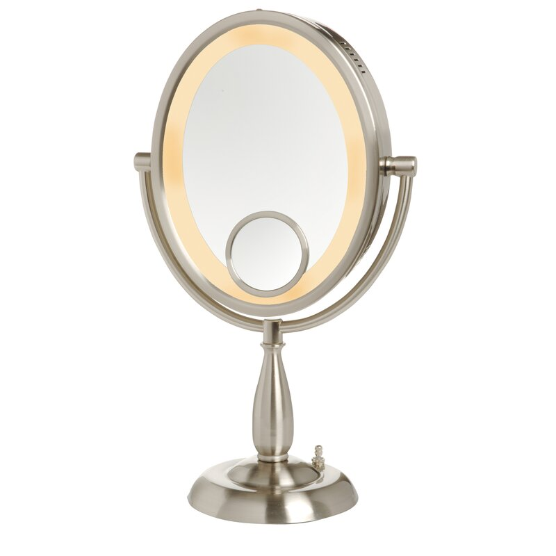 Oval Lighted Table Top Mirror