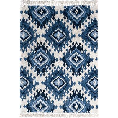 Brayden Studio Shuster Ivory/Indigo/Blue Area Rug Rug Size: 7'6 x 9'6