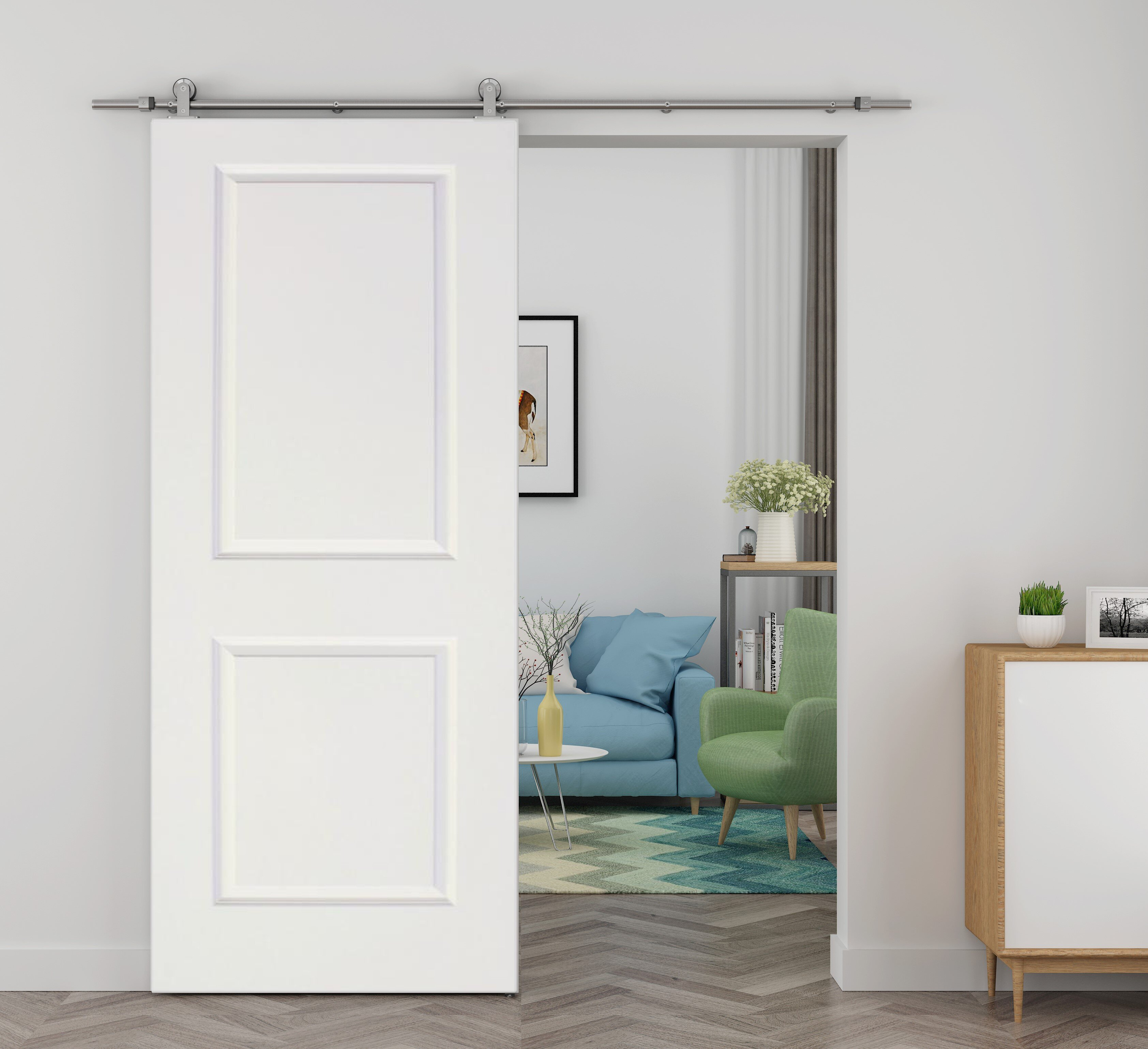 Calhome Paneled Wood Primed Barn Door With Installation Hardware Kit Reviews Wayfair