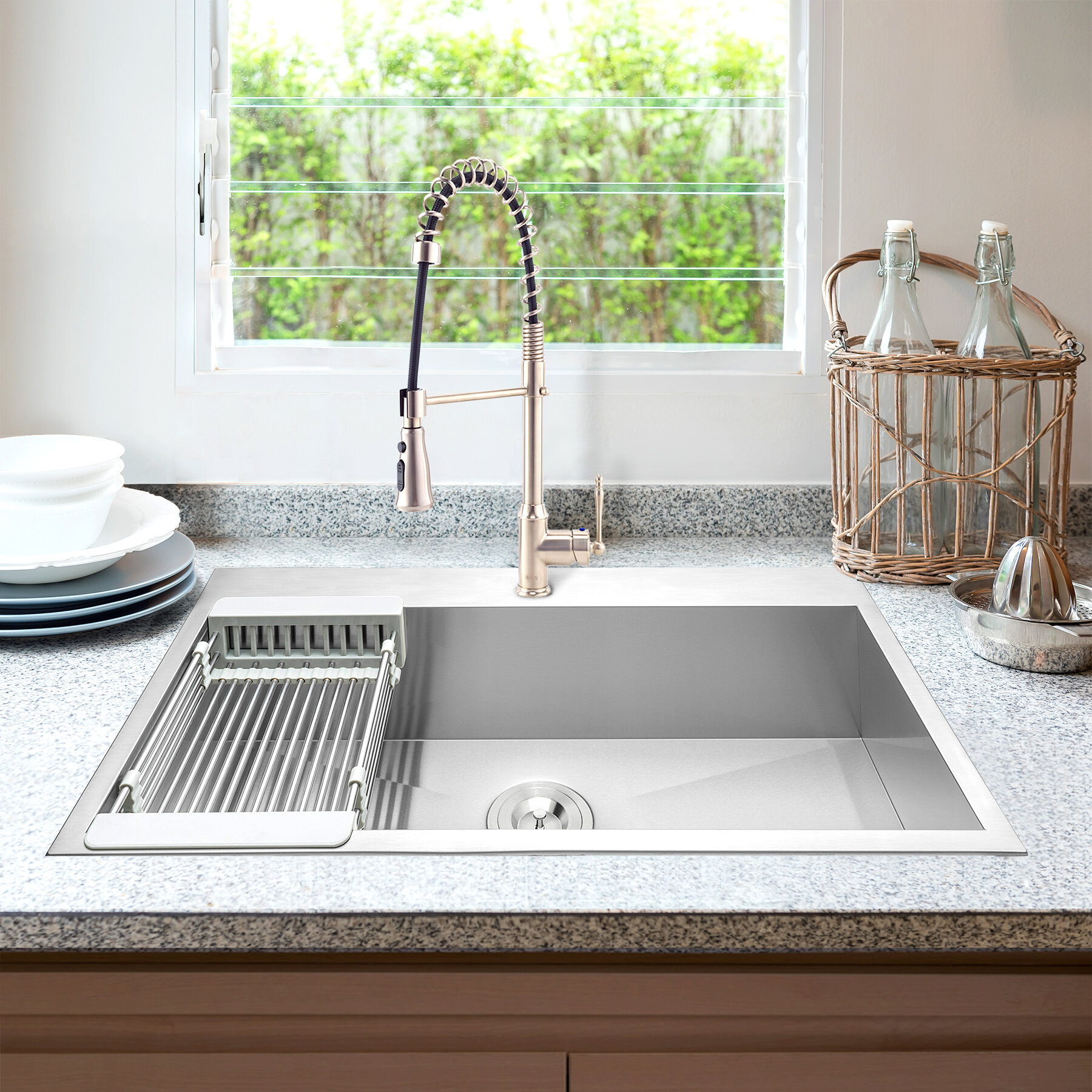Picture of: Akdy 30 L X 18 W Drop In Kitchen Sink With Faucet And Basket Strainer Wayfair