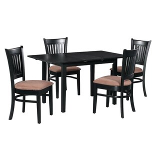 Fontinella 5 Piece Extendable Solid Wood Dining Set