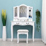 Sodhi Solid Wood Vanity Set with Stool and Mirror by Charlton Home®
