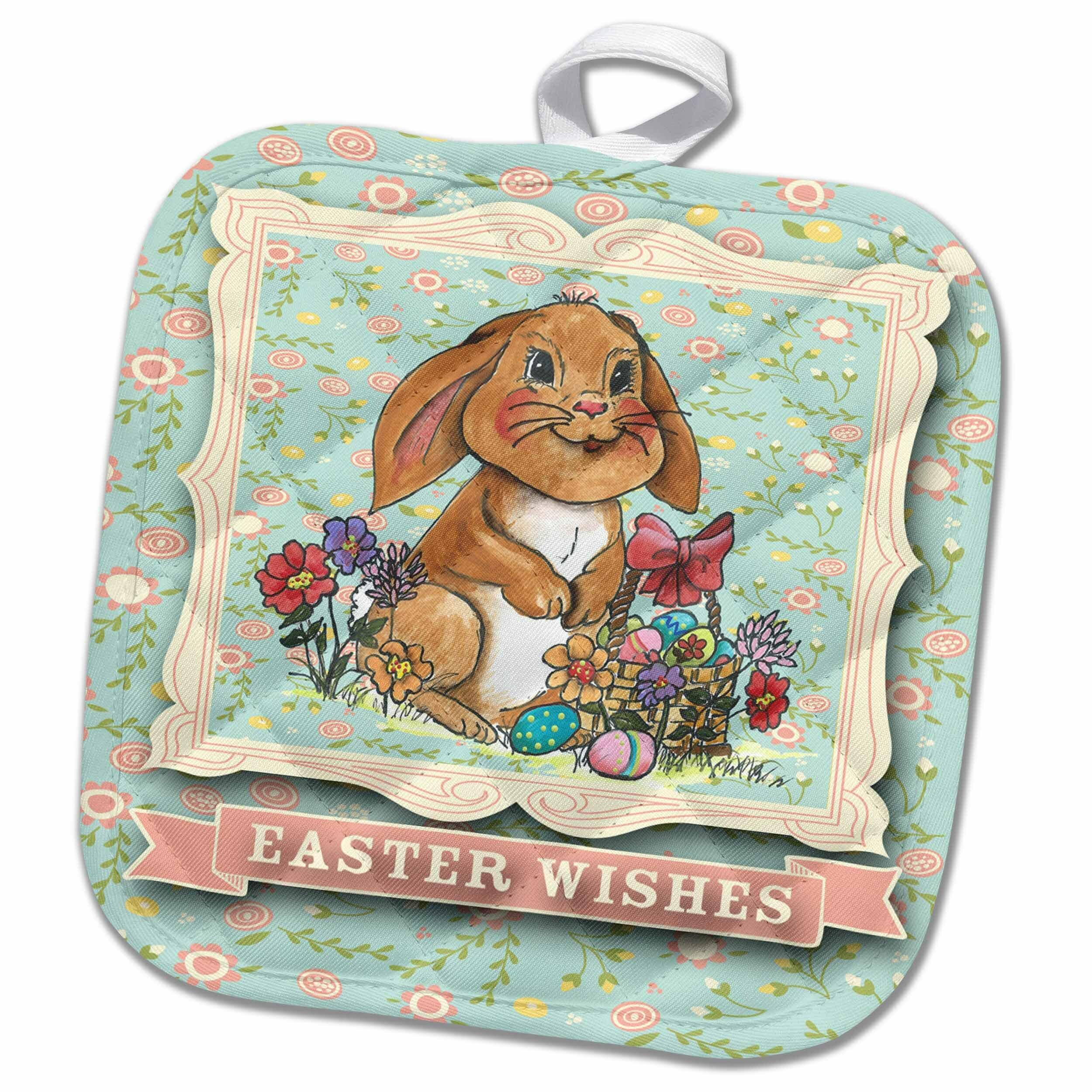 3drose Easter Bunny Wishes Potholder Wayfair