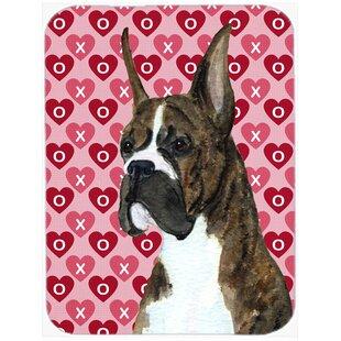 Valentine Hearts Boxer Hearts Love and Valentine's Day Portrait Glass Cutting Board ByCaroline's Treasures