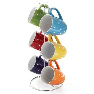 Pocklington Polka Dot 6 Piece Mug Set with Stand