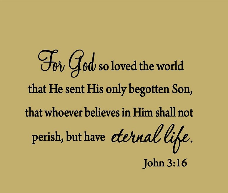 Vwaq For God So Loved The World John 316 Bible Wall Decal Wayfair