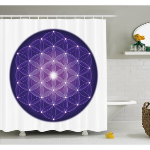 Flower Life Design Of Ancient Traditions With Point Stars Archaic Motif Shower Curtain Set by Ambesonne Today Only Sale