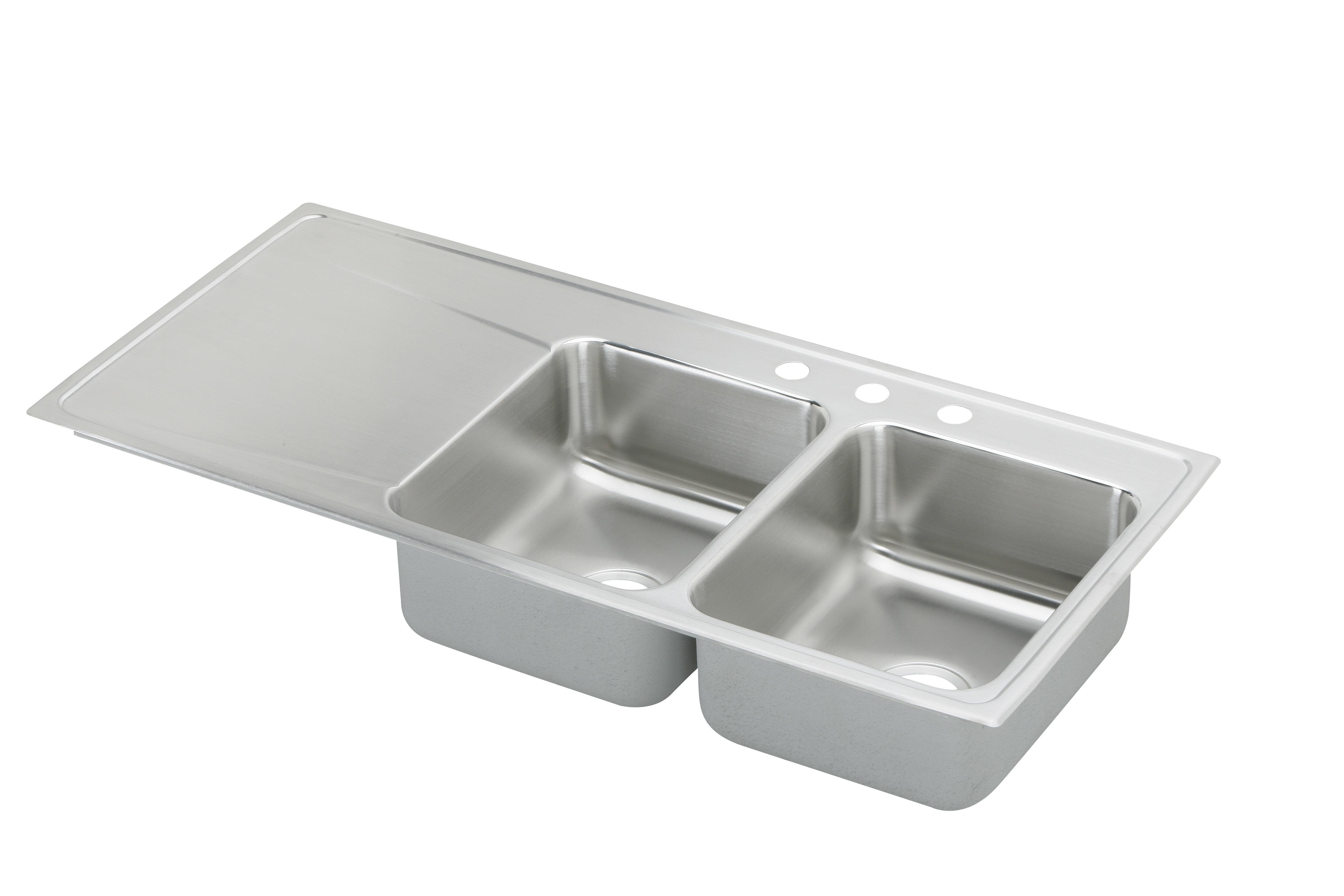 Elkay Lustertone 48 L X 22 W Double Basin Drop In Kitchen Sink With Drainboard Wayfair