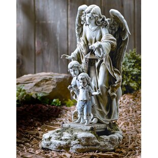 Solar Power Guardian Angel Statue