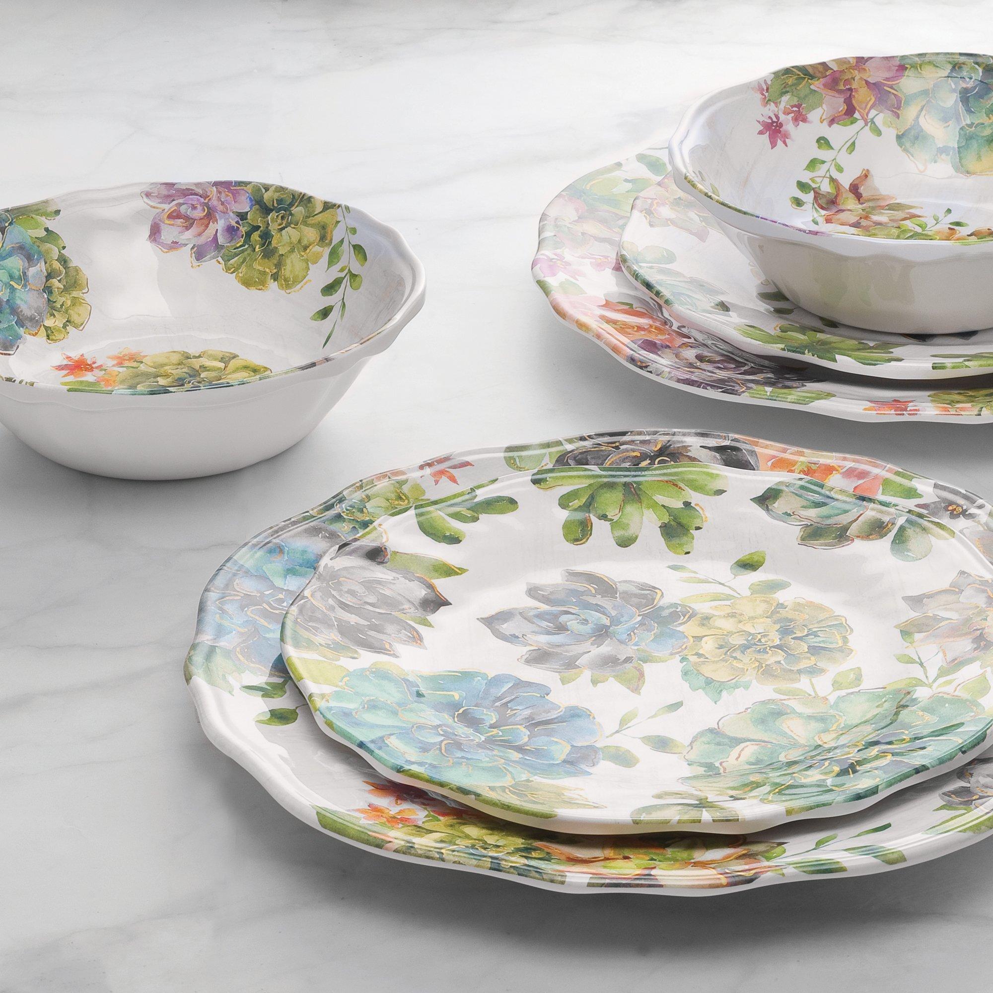 Watercolor Succulent Melamine 4-Piece Dinner Plate Set