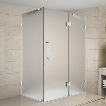 Aston Bromley Gs Frameless Corner With Glass Shelves 70 X 72 Rectangle Hinged Shower Enclosure Wayfair