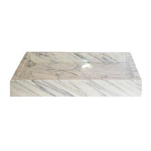 Price Check Infinity Pool Carrara Marble Rectangular Vessel Bathroom Sink ByEden Bath