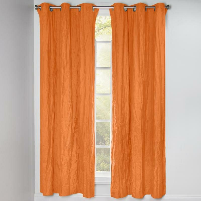 Crinkled Solid Blackout Grommet Single Curtain Panel