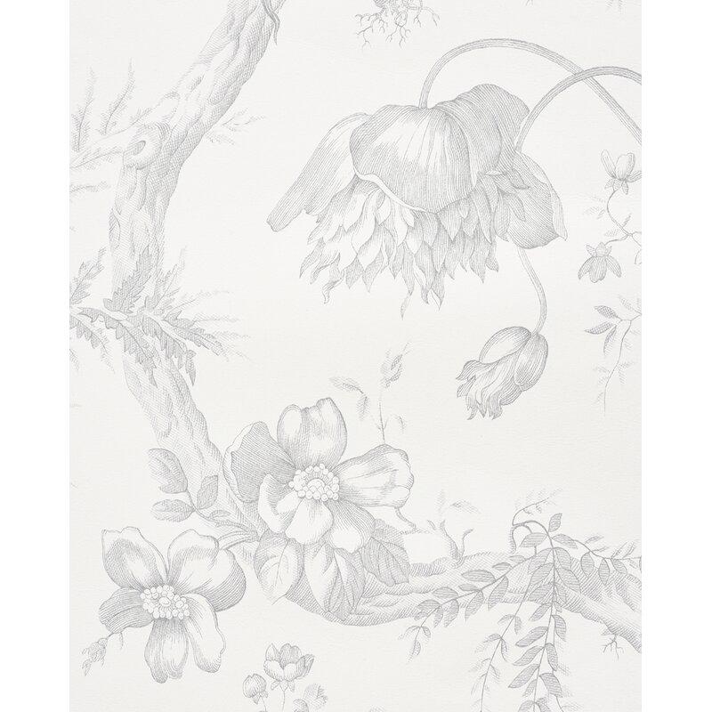"""Toile De Fleurs 16.5' L x 27.5"""" W Wallpaper Roll"""