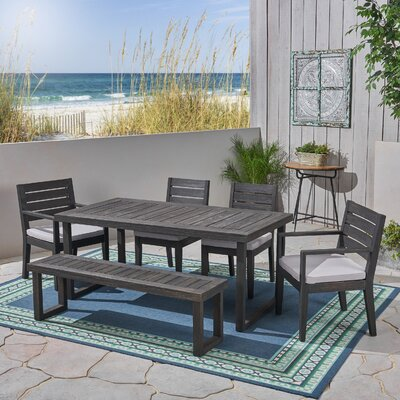 Rickie 6 Piece Dining Set With Cushions by Highland Dunes Discount