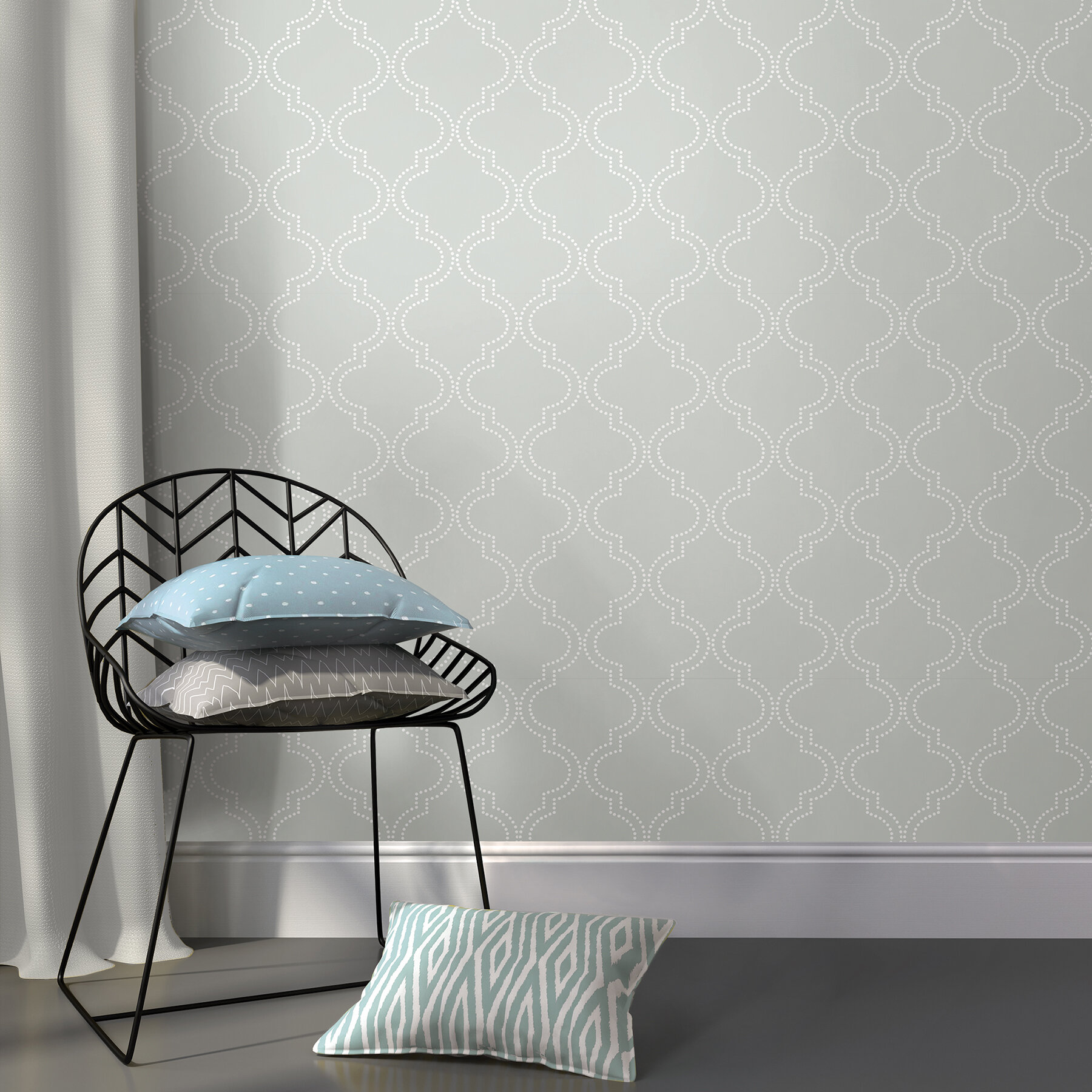 "WallPops Grey Quatrefoil 18 x 20 5"" Peel And Stick Wallpaper"