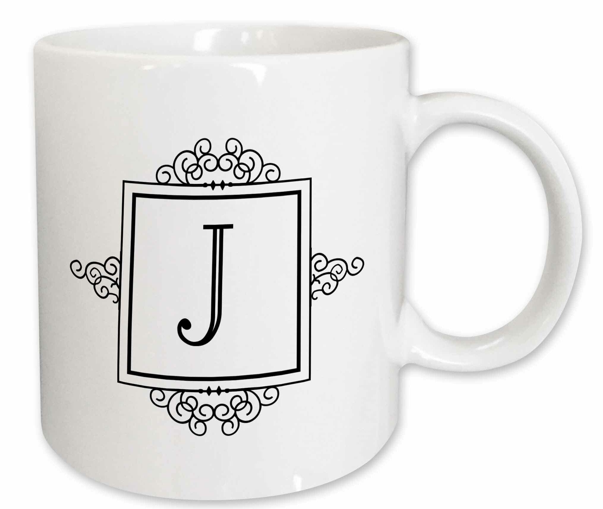 3drose Initial Letter J Personal Monogrammed Fancy Typography Elegant Stylish Personalized Coffee Mug Wayfair