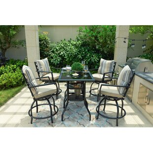 Alcott Hill Rosalyn High Swivel 6 Piece Dining Set with Cushions
