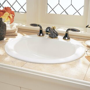 American Standard Retrospect Ceramic Circular Drop-In Bathroom Sink with Overflow