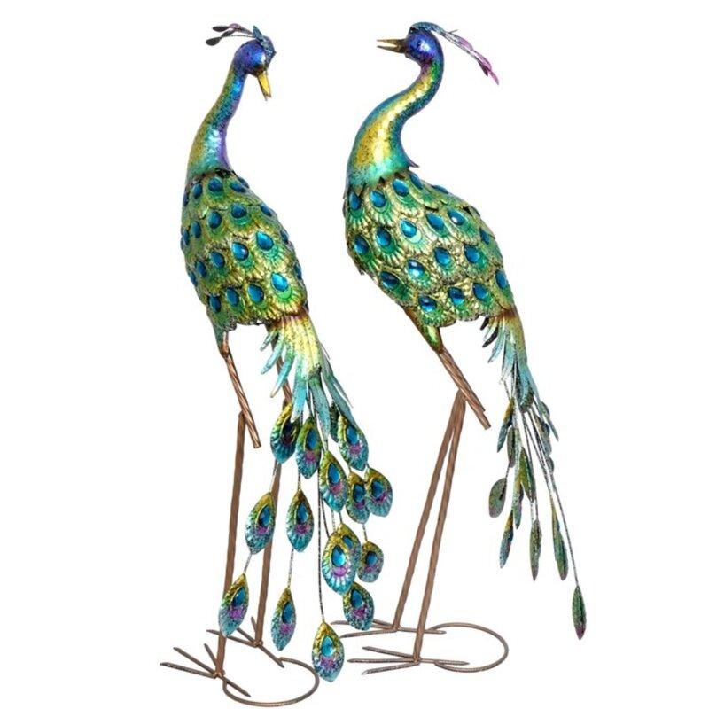 2 Peacock Garden Statues