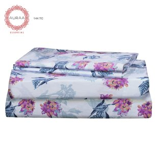 Sylvie 144 Thread Count Floral/Flower 100% Cotton Sheet Set