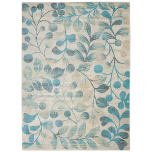 Monte Contemporary Botanical Ivory/Turquoise Area Rug by Winston Porter